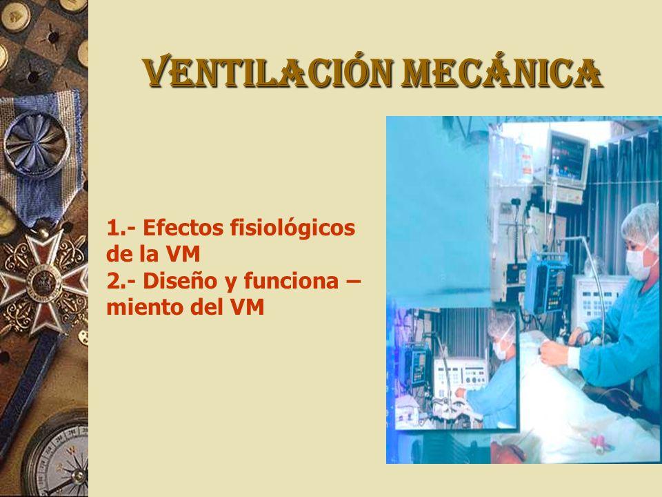 VENTILACIÓN MECÁNICA 1.- Efectos fisiológicos de la VM 2.- Diseño y funciona – miento del VM