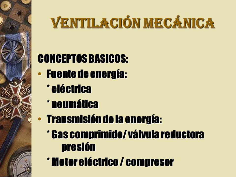 VENTILACIÓN MECÁNICA CONCEPTOS BASICOS: Fuente de energía:Fuente de energía: * eléctrica * neumática Transmisión de la energía:Transmisión de la energía: * Gas comprimido/ válvula reductora presión * Motor eléctrico / compresor