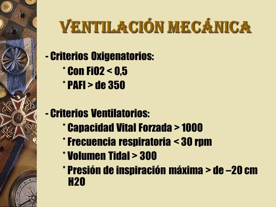 VENTILACIÓN MECÁNICA - Criterios Oxigenatorios: * Con FiO2 < 0,5 * PAFI > de 350 - Criterios Ventilatorios: * Capacidad Vital Forzada > 1000 * Frecuencia respiratoria < 30 rpm * Volumen Tidal > 300 * Presión de inspiración máxima > de –20 cm H2O