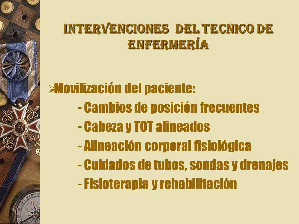 INTERVENCIONES Del TECNICO DE ENFERMERÍA Movilización del paciente: - Cambios de posición frecuentes - Cabeza y TOT alineados - Alineación corporal fi