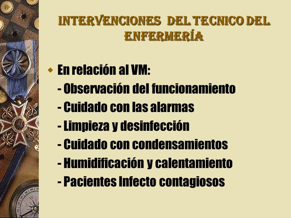 INTERVENCIONES DEL TECNICO DEL ENFERMERÍA En relación al VM: - Observación del funcionamiento - Cuidado con las alarmas - Limpieza y desinfección - Cuidado con condensamientos - Humidificación y calentamiento - Pacientes Infecto contagiosos