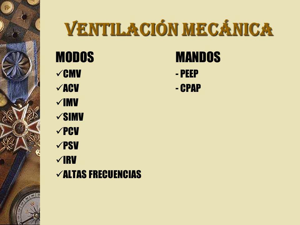 VENTILACIÓN MECÁNICA MODOSMANDOS CMV- PEEP ACV- CPAP IMV SIMV PCV PSV IRV ALTAS FRECUENCIAS