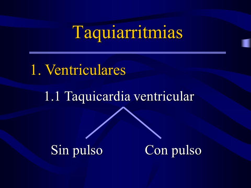 Taquiarritmias 1. Ventriculares 1.1 Taquicardia ventricular 1.1 Taquicardia ventricular Sin pulso Con pulso