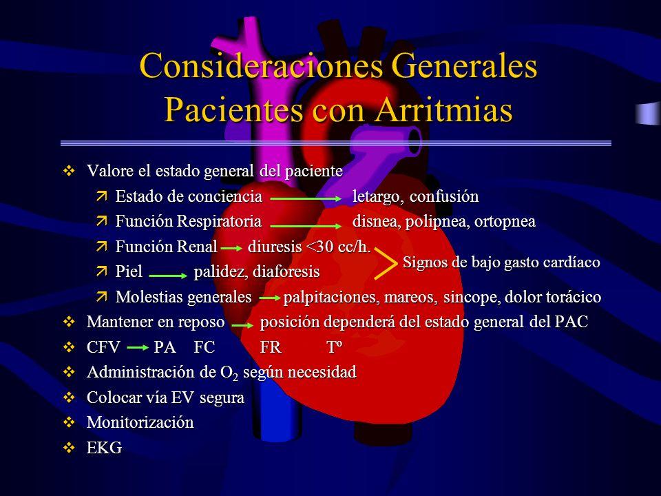 Consideraciones Generales Pacientes con Arritmias v Valore el estado general del paciente äEstado de conciencia letargo, confusión äFunción Respirator