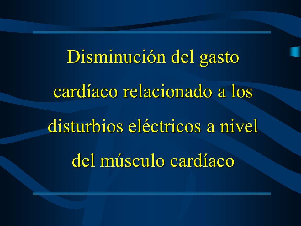 Disminución del gasto cardíaco relacionado a los disturbios eléctricos a nivel del músculo cardíaco