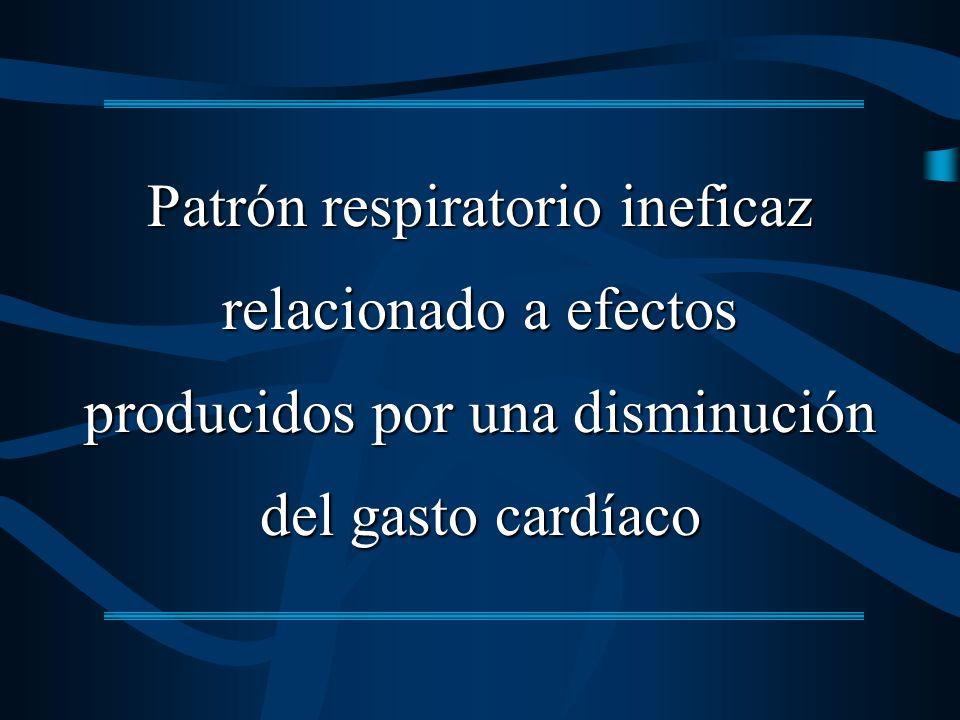 Patrón respiratorio ineficaz relacionado a efectos producidos por una disminución del gasto cardíaco