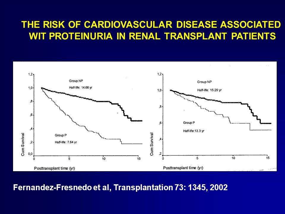 Fernandez-Fresnedo et al, Transplantation 73: 1345, 2002 THE RISK OF CARDIOVASCULAR DISEASE ASSOCIATED WIT PROTEINURIA IN RENAL TRANSPLANT PATIENTS