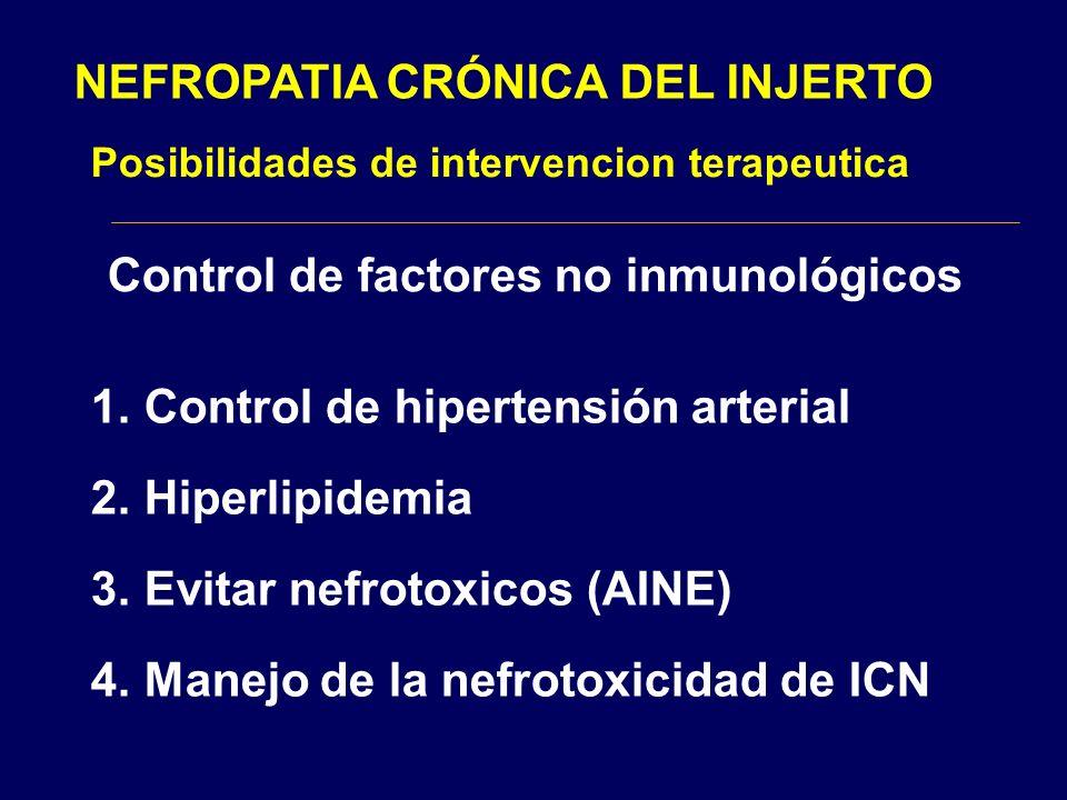 NEFROPATIA CRÓNICA DEL INJERTO Posibilidades de intervencion terapeutica Control de factores no inmunológicos 1.Control de hipertensión arterial 2.Hip