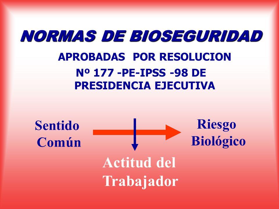 NORMAS DE BIOSEGURIDAD APROBADAS POR RESOLUCION Nº 177 -PE-IPSS -98 DE PRESIDENCIA EJECUTIVA Sentido Común Riesgo Biológico Actitud del Trabajador