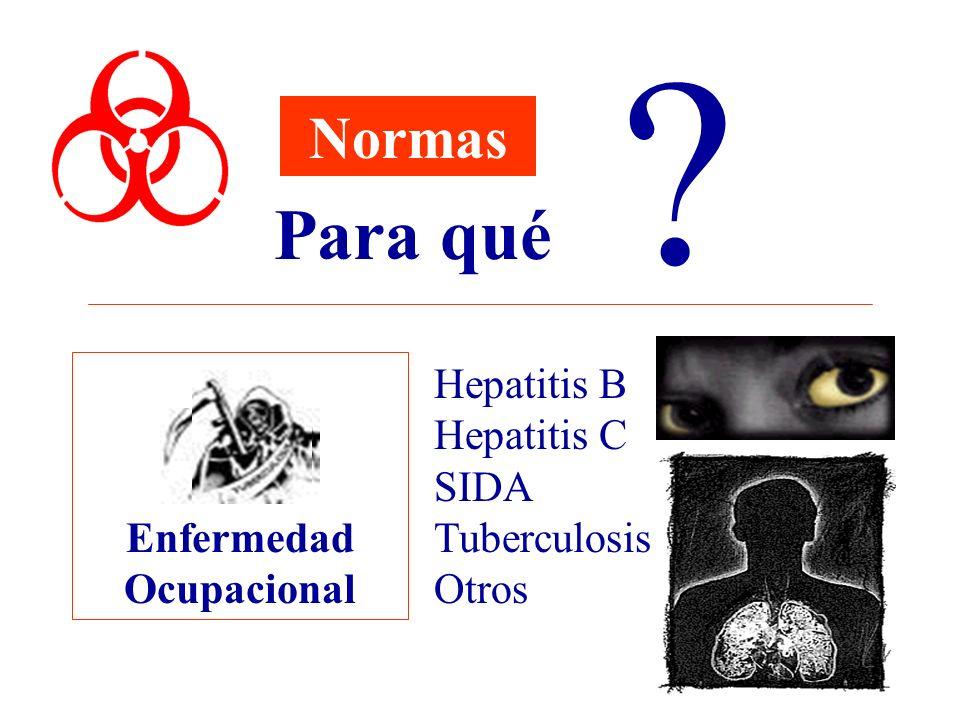 Enfermedad Ocupacional Normas Para qué ? Hepatitis B Hepatitis C SIDA Tuberculosis Otros