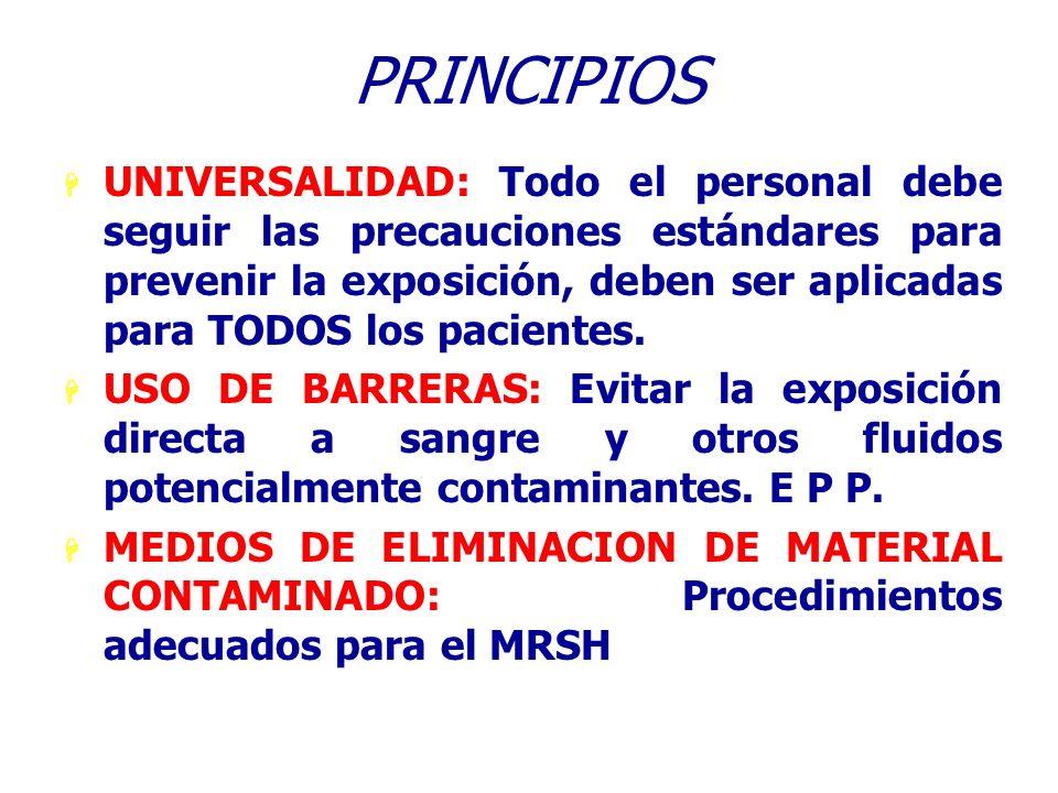 PRINCIPIOS H UNIVERSALIDAD: Todo el personal debe seguir las precauciones estándares para prevenir la exposición, deben ser aplicadas para TODOS los p
