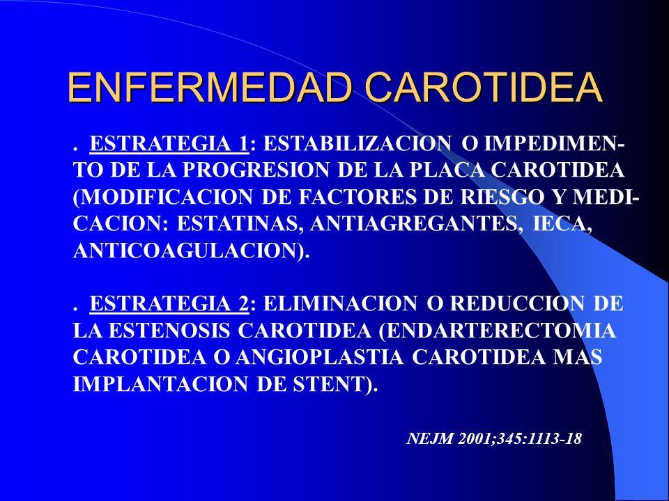 ENFERMEDAD CAROTIDEA. ESTRATEGIA 1: ESTABILIZACION O IMPEDIMEN- TO DE LA PROGRESION DE LA PLACA CAROTIDEA (MODIFICACION DE FACTORES DE RIESGO Y MEDI-