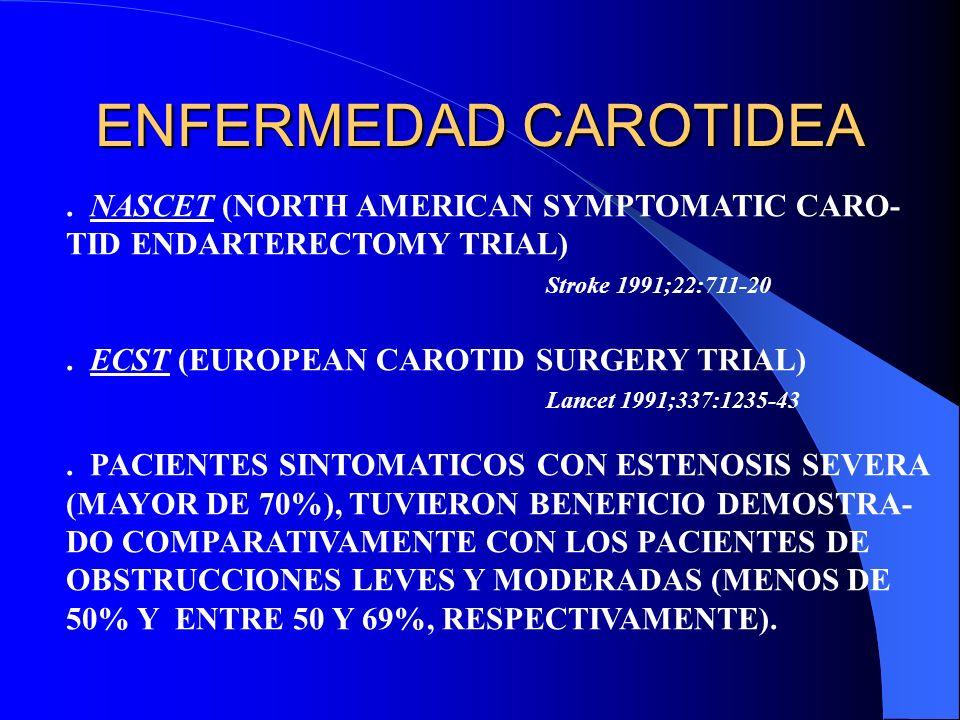 ENFERMEDAD CAROTIDEA. NASCET (NORTH AMERICAN SYMPTOMATIC CARO- TID ENDARTERECTOMY TRIAL) Stroke 1991;22:711-20. ECST (EUROPEAN CAROTID SURGERY TRIAL)