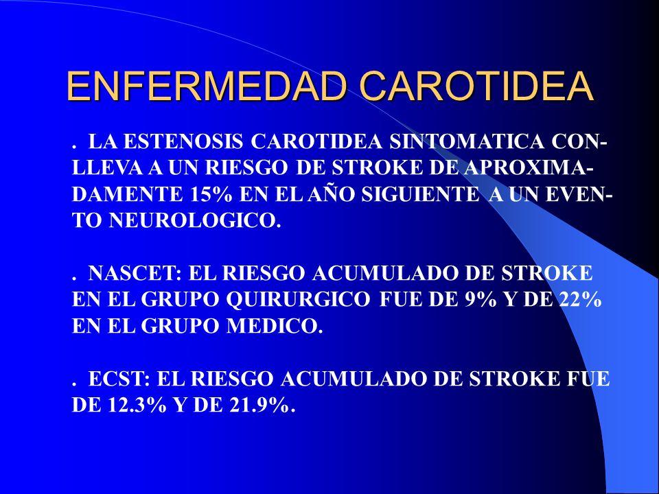 ENFERMEDAD CAROTIDEA. LA ESTENOSIS CAROTIDEA SINTOMATICA CON- LLEVA A UN RIESGO DE STROKE DE APROXIMA- DAMENTE 15% EN EL AÑO SIGUIENTE A UN EVEN- TO N