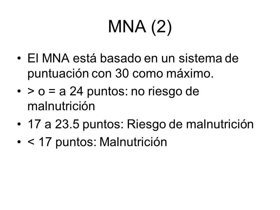 MNA (2) El MNA está basado en un sistema de puntuación con 30 como máximo. > o = a 24 puntos: no riesgo de malnutrición 17 a 23.5 puntos: Riesgo de ma