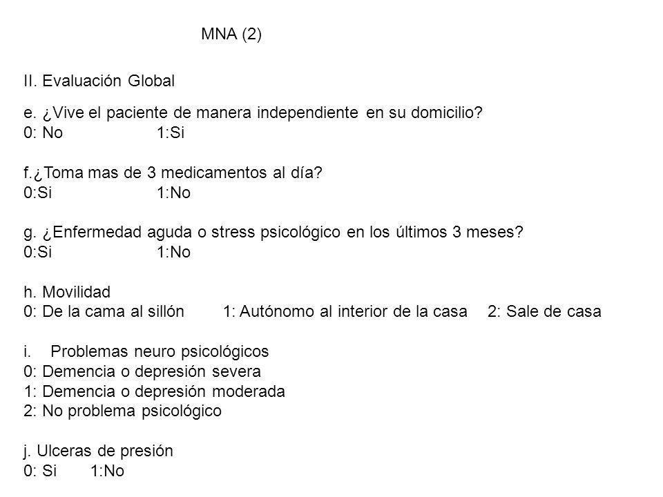 MNA (2) II. Evaluación Global e. ¿Vive el paciente de manera independiente en su domicilio? 0: No1:Si f.¿Toma mas de 3 medicamentos al día? 0:Si1:No g