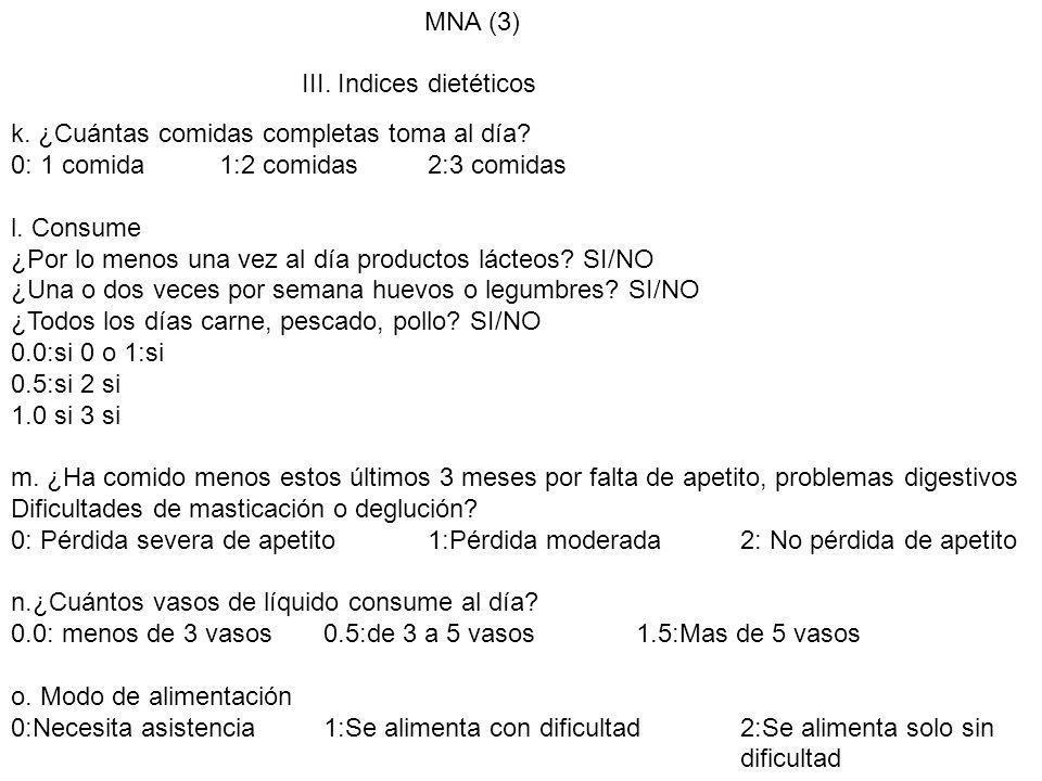 MNA (3) III. Indices dietéticos k. ¿Cuántas comidas completas toma al día? 0: 1 comida1:2 comidas2:3 comidas l. Consume ¿Por lo menos una vez al día p