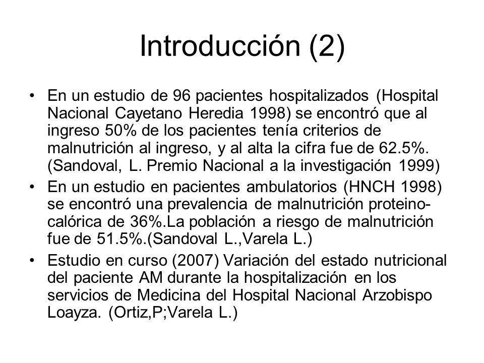 Introducción (2) En un estudio de 96 pacientes hospitalizados (Hospital Nacional Cayetano Heredia 1998) se encontró que al ingreso 50% de los paciente