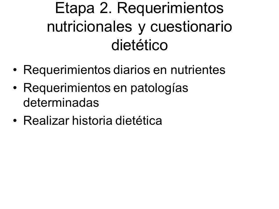 Etapa 2. Requerimientos nutricionales y cuestionario dietético Requerimientos diarios en nutrientes Requerimientos en patologías determinadas Realizar