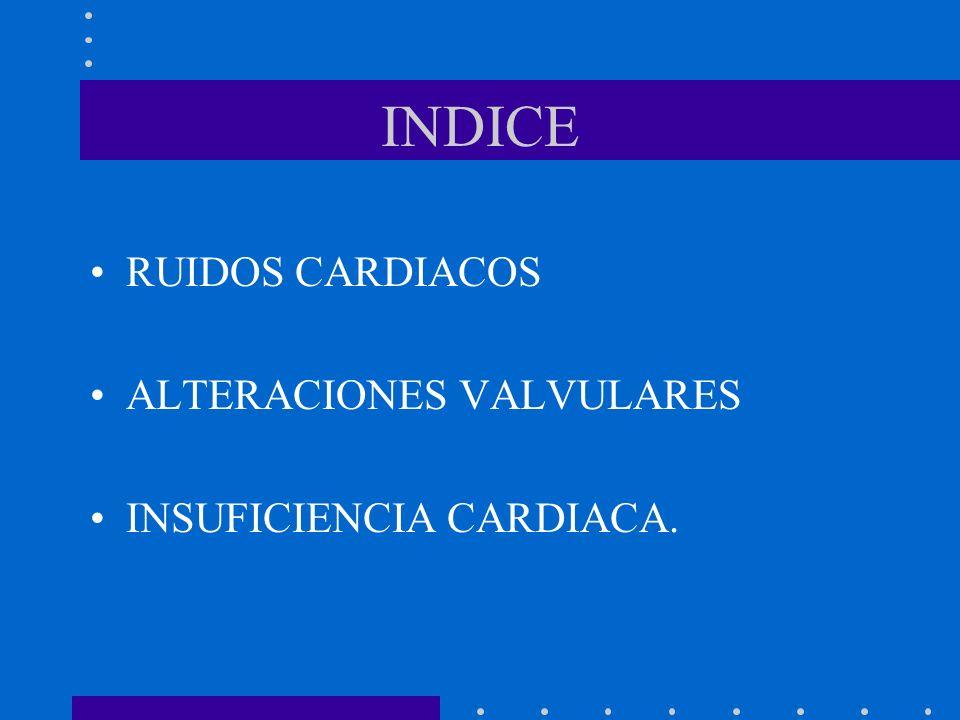 INDICE RUIDOS CARDIACOS ALTERACIONES VALVULARES INSUFICIENCIA CARDIACA.