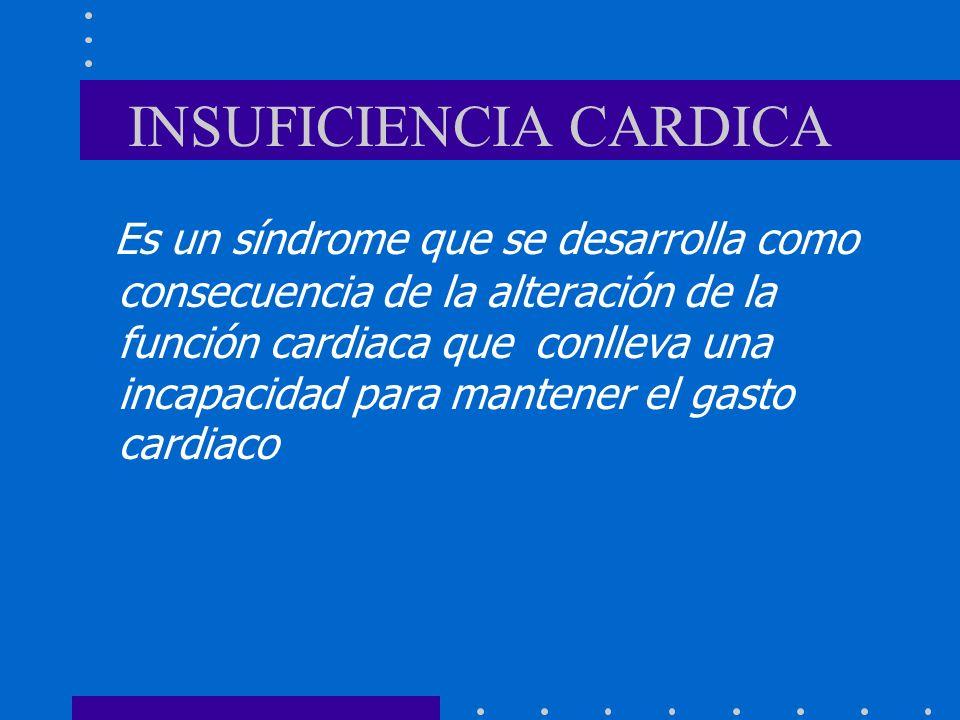 INSUFICIENCIA CARDICA Es un síndrome que se desarrolla como consecuencia de la alteración de la función cardiaca que conlleva una incapacidad para man