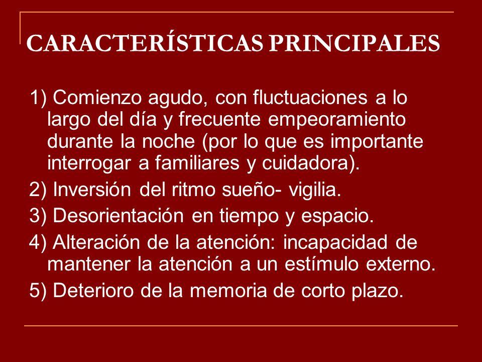 CARACTERÍSTICAS PRINCIPALES 1) Comienzo agudo, con fluctuaciones a lo largo del día y frecuente empeoramiento durante la noche (por lo que es importan