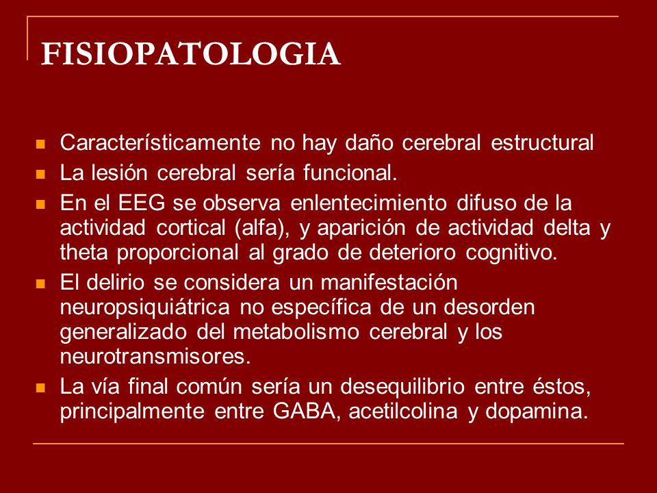 FISIOPATOLOGIA Característicamente no hay daño cerebral estructural La lesión cerebral sería funcional. En el EEG se observa enlentecimiento difuso de