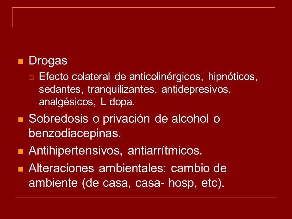 Drogas Efecto colateral de anticolinérgicos, hipnóticos, sedantes, tranquilizantes, antidepresivos, analgésicos, L dopa. Sobredosis o privación de alc