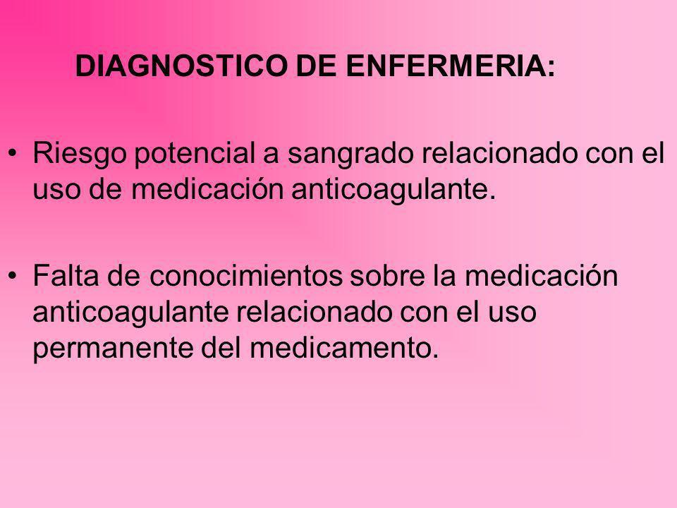 DIAGNOSTICO DE ENFERMERIA: Riesgo potencial a sangrado relacionado con el uso de medicación anticoagulante. Falta de conocimientos sobre la medicación