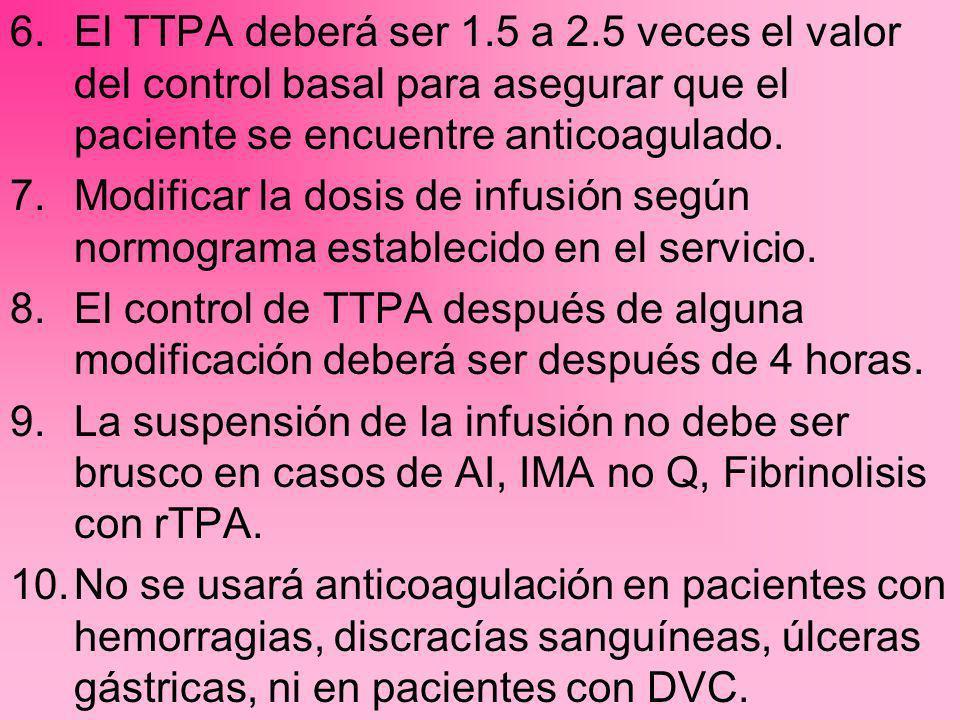6.El TTPA deberá ser 1.5 a 2.5 veces el valor del control basal para asegurar que el paciente se encuentre anticoagulado. 7.Modificar la dosis de infu