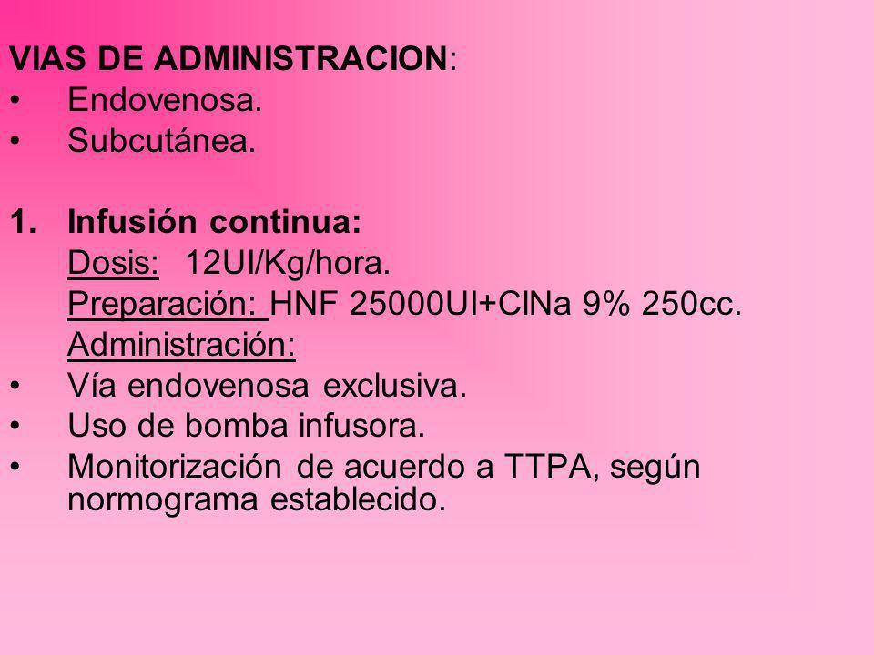 2.Heparina en bolos: Dosis: 60UI/Kg.administrados a horarios establecidos (c/6hr).