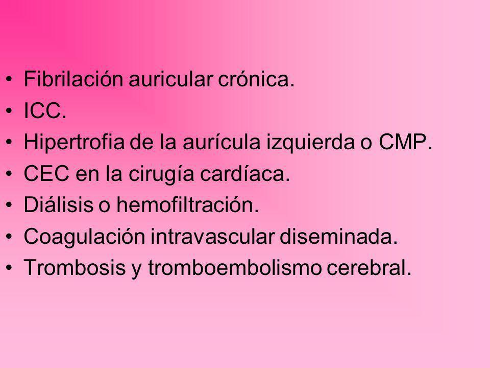 Fibrilación auricular crónica. ICC. Hipertrofia de la aurícula izquierda o CMP. CEC en la cirugía cardíaca. Diálisis o hemofiltración. Coagulación int
