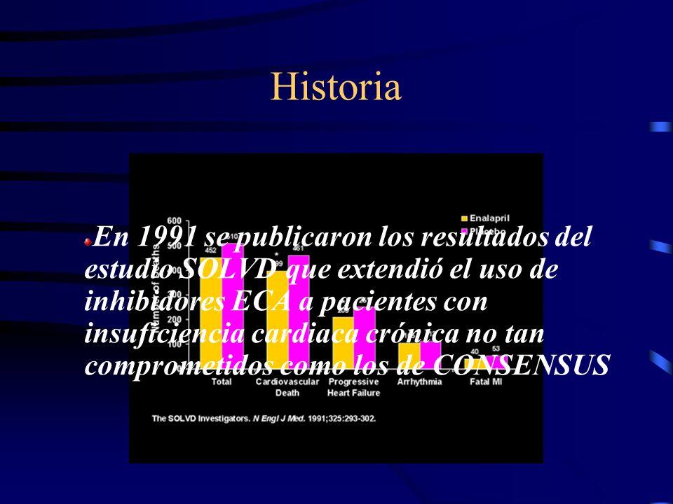 Historia En 1987 se publicó CONSENSUS-I (First Cooperative north Scandinavian enalapril survival study), demostró los beneficios definitivos del enalapril en la insuficiencia cardiaca severa.