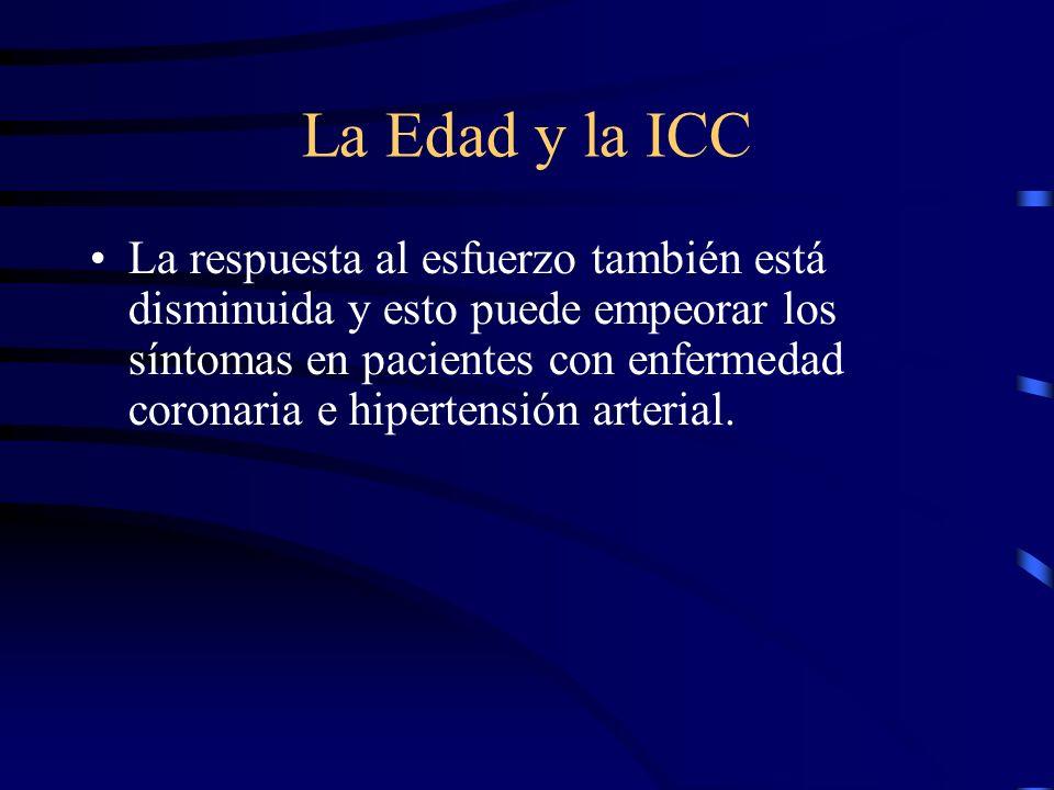 La Edad y la ICC La respuesta simpática disminuye y limita la capacidad de incrementar la frecuencia cardiaca y la función cardiaca cuando se presenta una enfermedad cardiaca (ej.