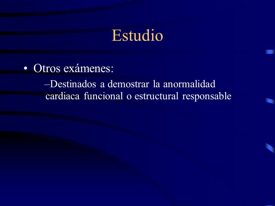 Estudio La Historia Clìnica se complementa con: –Exámenes de gases arteriales –EKG –RX de tórax –Exámenes de sangre