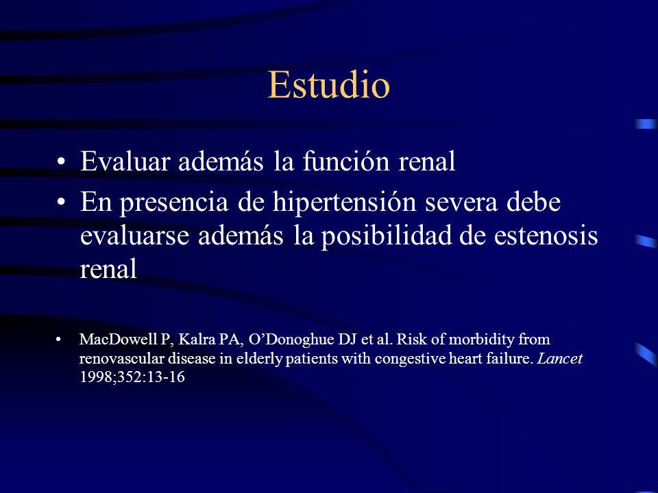 Estudio Determinar si el problema principal es disfunción sistólica (ecocardiograma). Hasta un 40% de pacientes adultos mayores con falla cardiaca tie