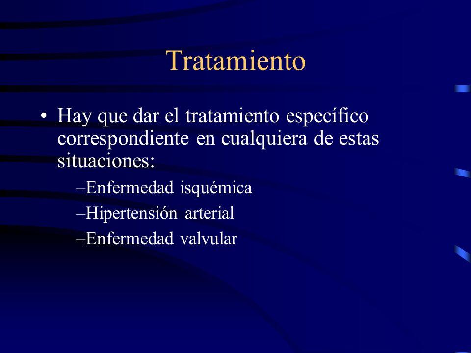 Tratamiento Prevención: –Importante tratar causas desencadenantes de insuficiencia cardiaca como la hipertensión arterial, enfermedad coronaria y aun más hipertensión arterial en pacientes que han tenido infarto cardiaco Kostis JB, Davis BR, Cutler J, Grimm RH et al.