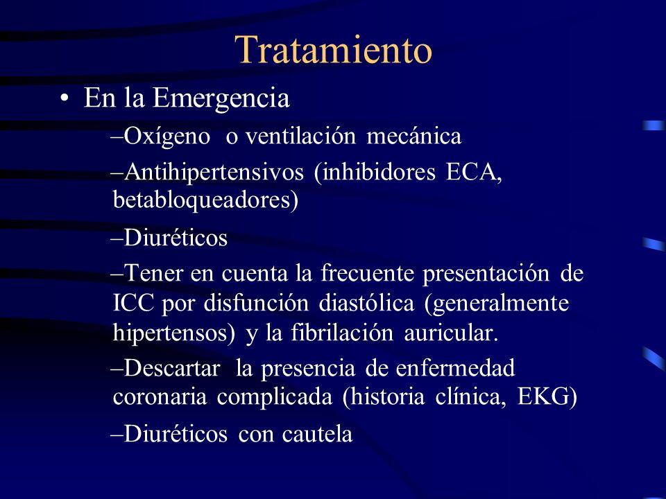 Tratamiento Hay que dar el tratamiento específico correspondiente en cualquiera de estas situaciones: –Enfermedad isquémica –Hipertensión arterial –En