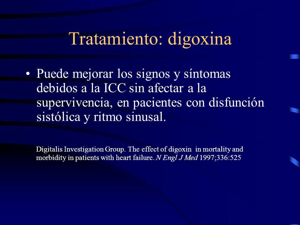 Tratamiento: diuréticos Considerando el incremento de la rigidez vascular, éstos son particularmente útiles –Se produce una disminución importante de la presión con pequeños cambios en el volumen intravascular