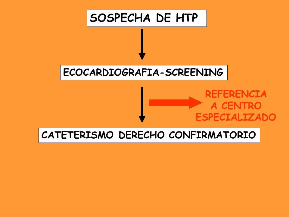 SOSPECHA DE HTP ECOCARDIOGRAFIA-SCREENING CATETERISMO DERECHO CONFIRMATORIO REFERENCIA A CENTRO ESPECIALIZADO