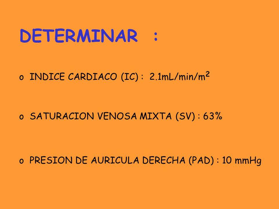 DETERMINAR : o INDICE CARDIACO (IC) : 2.1mL/min/m 2 o SATURACION VENOSA MIXTA (SV) : 63% o PRESION DE AURICULA DERECHA (PAD) : 10 mmHg