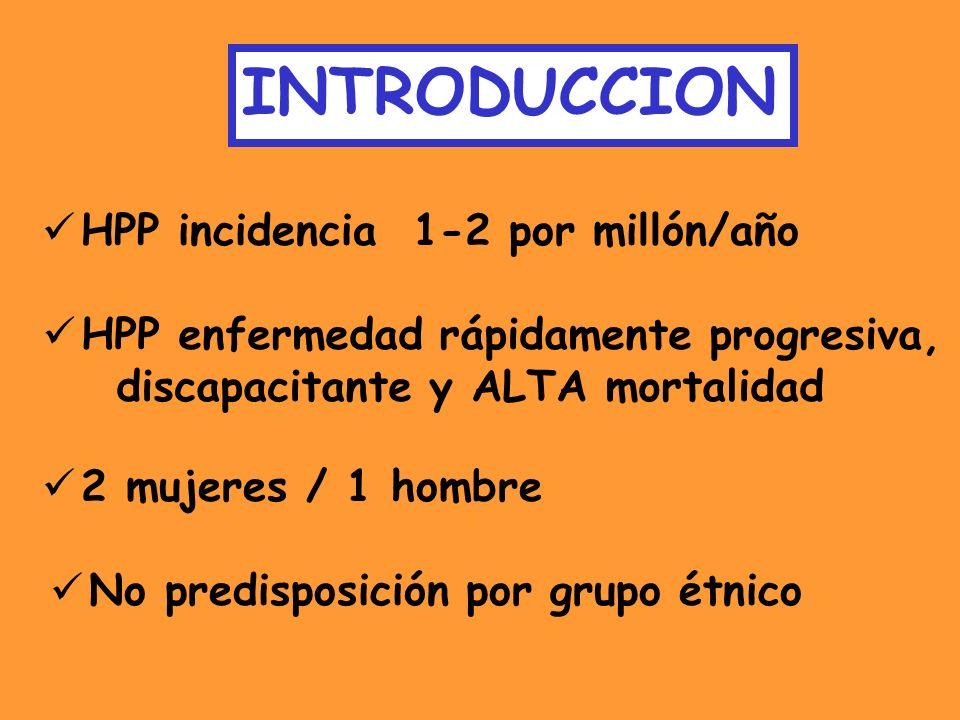 INTRODUCCION HPP incidencia 1-2 por millón/año HPP enfermedad rápidamente progresiva, discapacitante y ALTA mortalidad 2 mujeres / 1 hombre No predisp