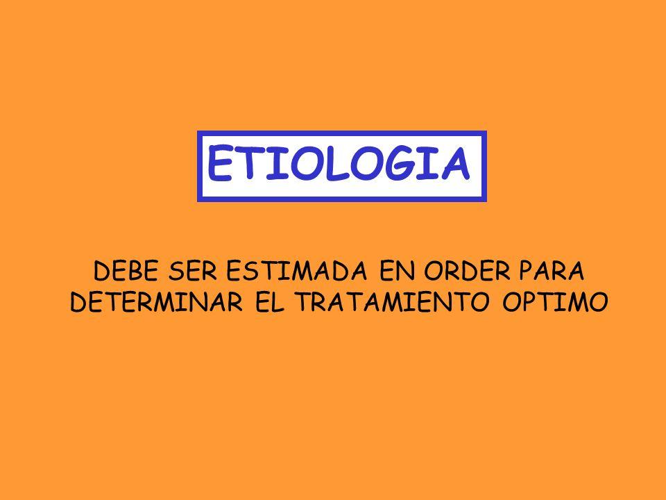 ETIOLOGIA DEBE SER ESTIMADA EN ORDER PARA DETERMINAR EL TRATAMIENTO OPTIMO