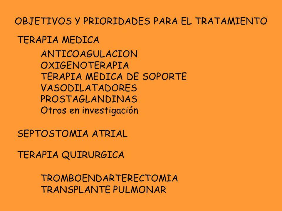 OBJETIVOS Y PRIORIDADES PARA EL TRATAMIENTO TERAPIA MEDICA ANTICOAGULACION OXIGENOTERAPIA TERAPIA MEDICA DE SOPORTE VASODILATADORES PROSTAGLANDINAS Ot