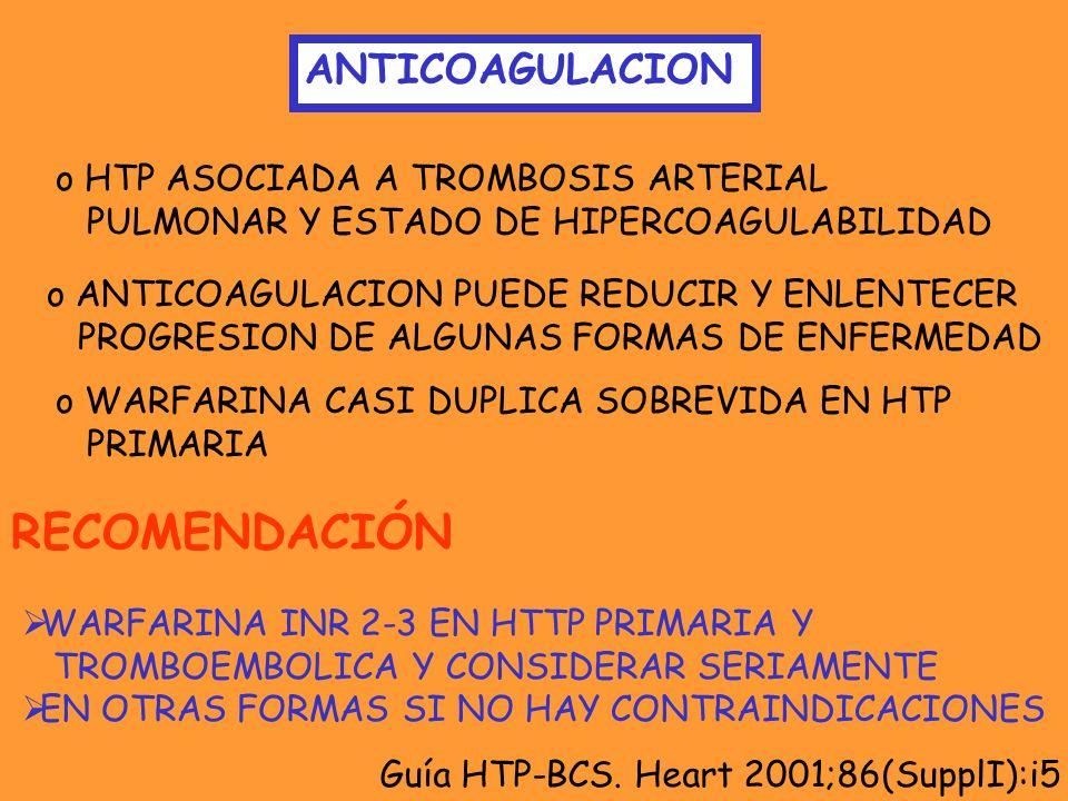 ANTICOAGULACION o HTP ASOCIADA A TROMBOSIS ARTERIAL PULMONAR Y ESTADO DE HIPERCOAGULABILIDAD o ANTICOAGULACION PUEDE REDUCIR Y ENLENTECER PROGRESION D