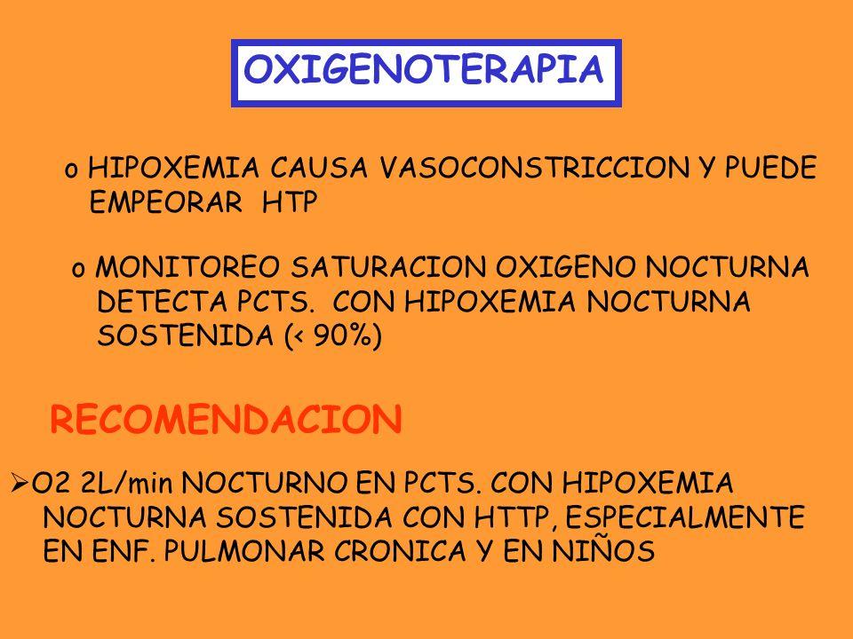 OXIGENOTERAPIA o HIPOXEMIA CAUSA VASOCONSTRICCION Y PUEDE EMPEORAR HTP o MONITOREO SATURACION OXIGENO NOCTURNA DETECTA PCTS. CON HIPOXEMIA NOCTURNA SO