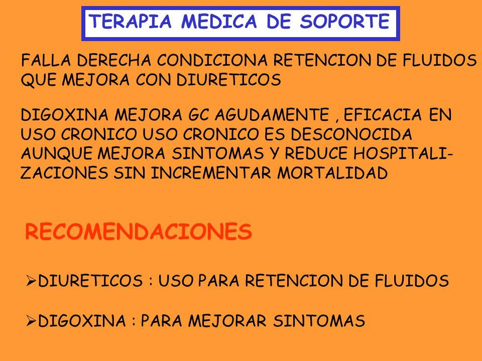 TERAPIA MEDICA DE SOPORTE FALLA DERECHA CONDICIONA RETENCION DE FLUIDOS QUE MEJORA CON DIURETICOS DIGOXINA MEJORA GC AGUDAMENTE, EFICACIA EN USO CRONI