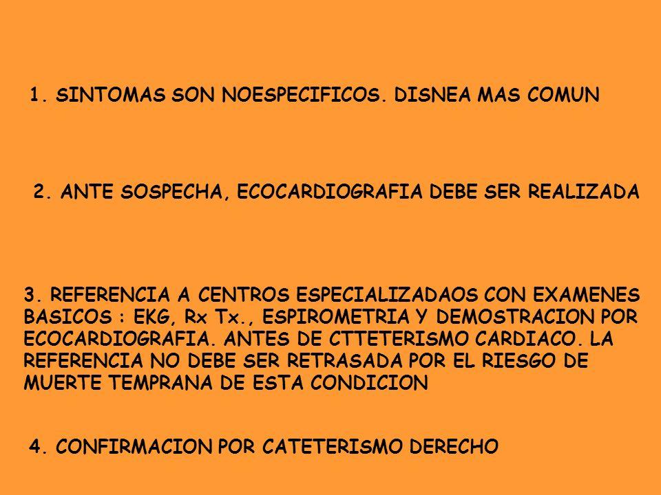 1. SINTOMAS SON NOESPECIFICOS. DISNEA MAS COMUN 2. ANTE SOSPECHA, ECOCARDIOGRAFIA DEBE SER REALIZADA 3. REFERENCIA A CENTROS ESPECIALIZADAOS CON EXAME