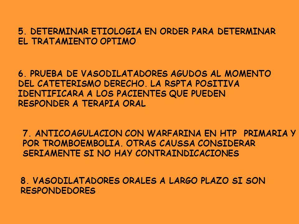 5. DETERMINAR ETIOLOGIA EN ORDER PARA DETERMINAR EL TRATAMIENTO OPTIMO 6. PRUEBA DE VASODILATADORES AGUDOS AL MOMENTO DEL CATETERISMO DERECHO. LA RSPT