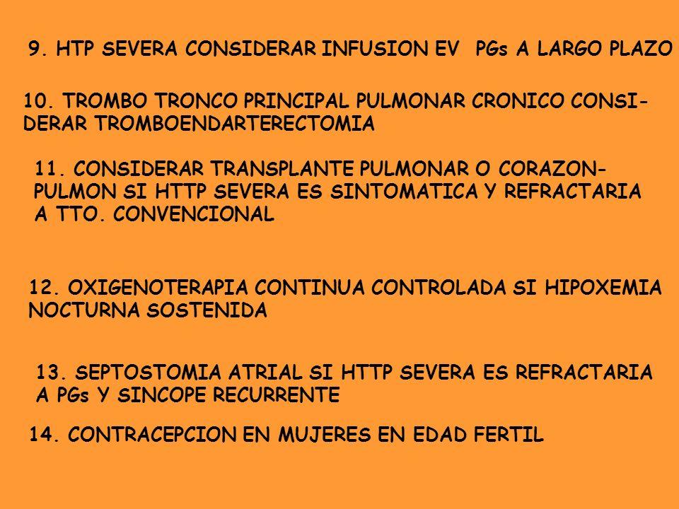 9. HTP SEVERA CONSIDERAR INFUSION EV PGs A LARGO PLAZO 10. TROMBO TRONCO PRINCIPAL PULMONAR CRONICO CONSI- DERAR TROMBOENDARTERECTOMIA 11. CONSIDERAR